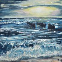 Nordsee, Sonnenuntergang, Brechen, Strand