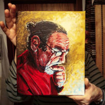 Acrylmalerei, Gesicht, Menschen, Denken