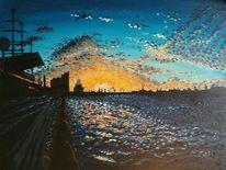 Impressionismus, Landungsbrücken, Elbe, Hafen