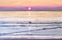 Küste, Brandung, Spiegelung, Wasseroberfläche