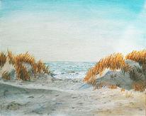 Strand, Sand, Acrylmalerei, Sonne