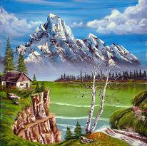 See, Wald, Hütte, Berge