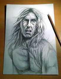 Bleistiftzeichnung, Iggy pop, Zeichnung, Zeichnungen