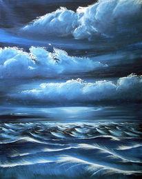 Seescape, Wolken, Wasser, Malerei