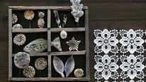 Wandschmuck aus Altholz und Keramik-Kleinteilen