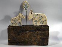 Schaf, Brennen, Keramik, Holz