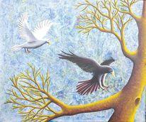 Acrylmalerei, Fantasie, Tiere, Modern