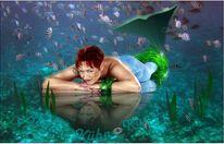 Bodypainting mit fotomontage, Nixe, Fantasie, Unterwasser