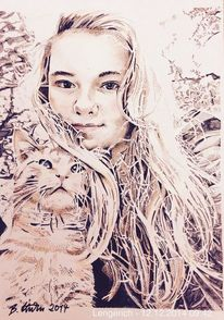 Kinder, Portrait, Kater, Pop art