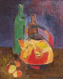 Flasche, Teekessel, Malerei, Abstrakt