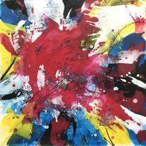 Acrylschüttungen, Blau, Marmormehl, Expressionismus