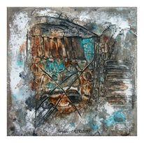 Sumpfkalk, Struktur, Aquarellmalerei, Firnis
