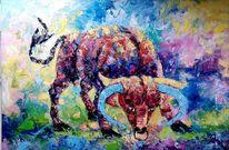 Stier, Tiermalerei, Bunte bild, Modern
