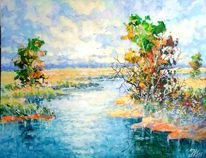 Fluss, Flusslandschaft, Natur, Malerei