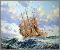 Spachteltechnik, Segelschiff, Malerei, See
