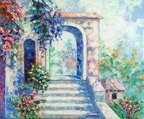 Park, Haus, Gemälde, Treppe