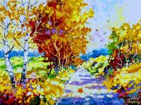 Modern, Bunt, Herbstweg, Malerei
