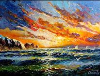 Sonnenuntergang, Nordsee, See, Atlantik