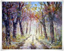 Malerei, Waldweg,