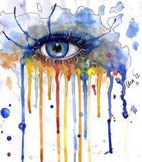 Blick, Laufen, Aquarellmalerei, Augenfarbe