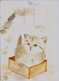 Katze, Karton, Braun, Aquarellmalerei