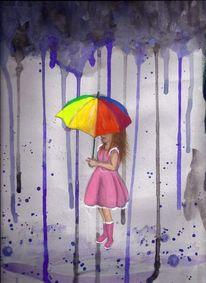 Regen, Farben, Rosa, Grau