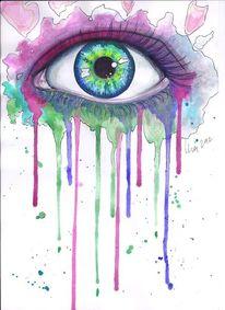 Augen, Starren, Blick, Lila