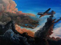Sturm, Flugzeug, Wolken, Malerei
