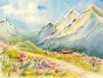Berge, Landschaft, Frühling, Aquarell