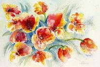 Frühling, Tulpen, Rot, Blumen