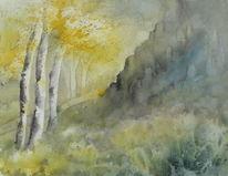 Nebel, Felsen, Baum, Sonne