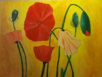 Acrylmalerei, Mohnblumen, Malerei
