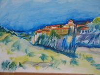 Acrylmalerei, Kloster, Landschaft, Malerei