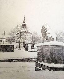 Gotha, Schloss, Winter, Zeichnungen