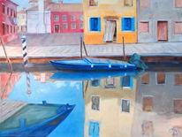 Kanal, Venedig, Boot, Haus