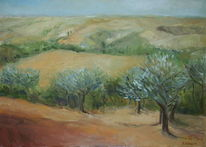 Toskana, Pienza, Olivenbäume, Malerei