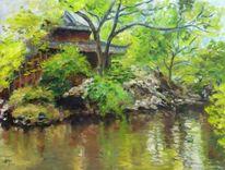 Malerei, Vegetation, Ölmalerei, Wasser