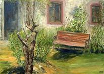 Fenster, Sommer, Bank, Garten