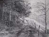 Weg, Landschaft, Wald, Malerei