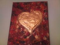 Liebe, Bronze, Herz, Malerei