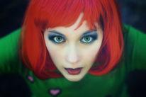 Perücke, Rot, Grün, Augen