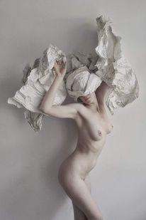 Helm, Frau, Packpapier, Fotografie