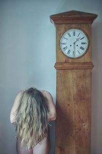 Frau, Uhr, Zeit, Gebeugt