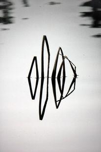 Spiegelung, Wasser, Kontur, Grau