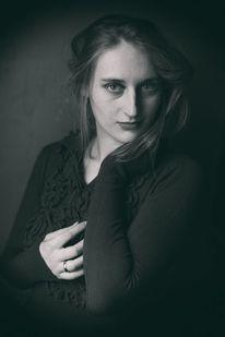 Frau, Schwarz weiß, Portrait, Retro