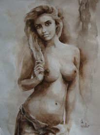 Akt, Aquarell, Zeichnung,