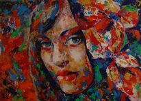 Gemälde, Frau mit blumen, Acrylmalerei, Abstrakt