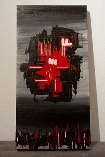 Rot schwarz, Verlauf, Abstrakt, Malerei