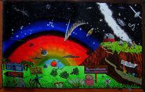 Mond, Naive malerei, Sternwarte, Acrylmalerei