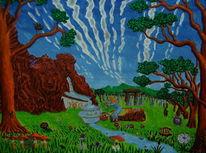 Baum, Felsen, Quelle, Naive malerei